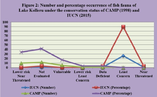 Number and percentage occurrence of fish fauna of Lake Kolleru under the conservation status CAMP, 1998 and IUCN, 2013.jpg