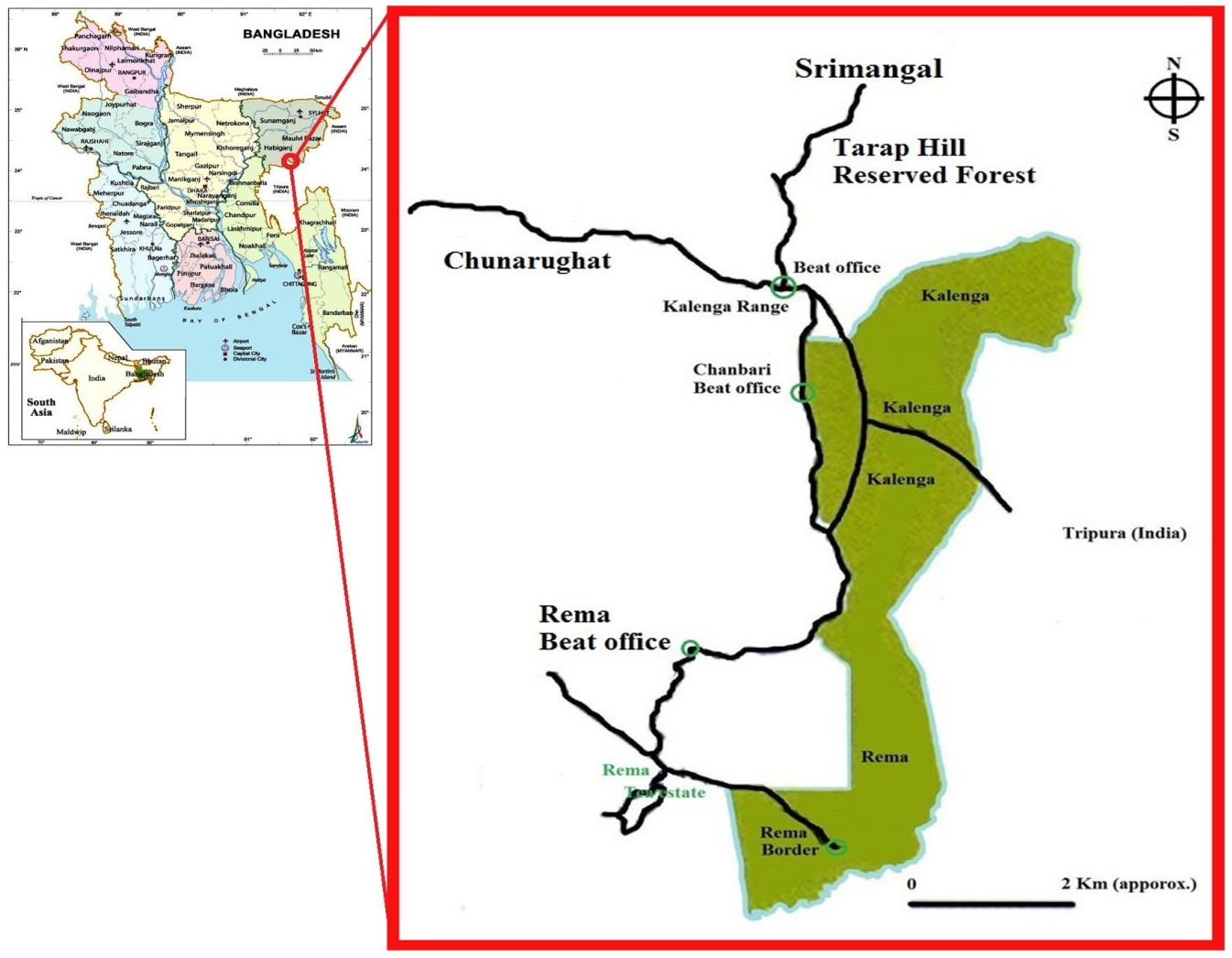Map of Rema-Kalenga Wildlife Sanctuary.